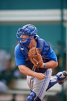 Toronto Blue Jays catcher Ryan Gold (83) throws to second base during an Instructional League game against the Pittsburgh Pirates on October 13, 2017 at Pirate City in Bradenton, Florida.  (Mike Janes/Four Seam Images)