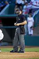 Home plate umpire Steven Hodgins during the Midwest League game between the South Bend Cubs and the Lansing Lugnuts at Cooley Law School Stadium on June 15, 2018 in Lansing, Michigan. The Lugnuts defeated the Cubs 6-4.  (Brian Westerholt/Four Seam Images)