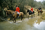 The Vale of White Horse an English premier hunt based in Wiltshire. Fox hunting with hounds. 1980s The Master of the hunt leads the way through a thicket. 1985