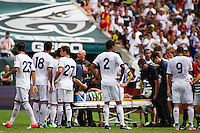 Dylan McGeouch (46) of Celtic F. C. is placed on a stretcher after being injured going up for a header. Real Madrid defeated Celtic F. C. 2-0 during a 2012 Herbalife World Football Challenge match at Lincoln Financial Field in Philadelphia, PA, on August 11, 2012.