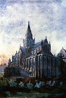 Mackintosh Collection: Hunterian Art Gallery, U. of Glasgow. Watercolor of Glasgow Cathedral 1890.