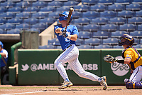 Memphis Tigers Taylor Howell (27) bats during a game against the East Carolina Pirates on May 25, 2021 at BayCare Ballpark in Clearwater, Florida.  (Mike Janes/Four Seam Images)