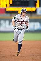 Garrison Schwartz (18) of the Danville Braves rounds the bases after hitting a 3-run home run against the Burlington Royals at Burlington Athletic Stadium on August 12, 2017 in Burlington, North Carolina.  The Braves defeated the Royals 5-3.  (Brian Westerholt/Four Seam Images)