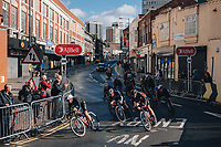 5th October 2021, AJ Bell  Womens  Cycling Tour, Stage 2,  Walsall to Walsall. Amy Pieters (stage winner) takes the bend with 300 metres to go.