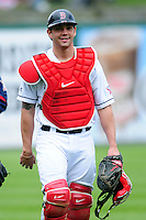 Pawtucket Red Sox catcher Blake Swihart (5) prior to a game versus the Syracuse Chiefs at McCoy Stadium in Pawtucket, Rhode Island on April 30, 2015.  (Ken Babbitt/Four Seam Images)