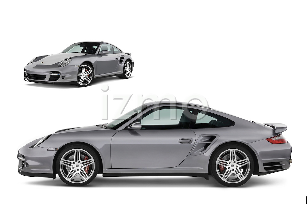 Composite image of Porsche 911 Turbo profile and front three quarter on white background.