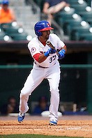 Buffalo Bisons outfielder Dalton Pompey (37) squares to bunt during a game against the Columbus Clippers on July 19, 2015 at Coca-Cola Field in Buffalo, New York.  Buffalo defeated Columbus 4-3 in twelve innings.  (Mike Janes/Four Seam Images)