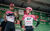 Taylor Phinney (USA/Education First-Drapac) + owl and Hugh Carthy (GBR/Education First-Drapac) at the pre race team presentation<br /> <br /> Stage 6: Barrow-in-Furness to Whinlatter Pass   (168km)<br /> 15th Ovo Energy Tour of Britain 2018