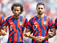 KANSAS CITY, KS - JULY 18: Gianluca Busio #6 Sebastian Lletget #17 of the United States during a game between Canada and USMNT at Children's Mercy Park on July 18, 2021 in Kansas City, Kansas.