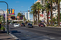 Las Vegas, Nevada.  Las Vegas Boulevard, The Strip, with Stratosphere Casino, Hotel, and Tower in background.