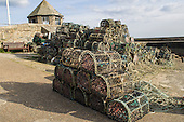 Charlestown, West country, England. Harbour. Lobster pots.