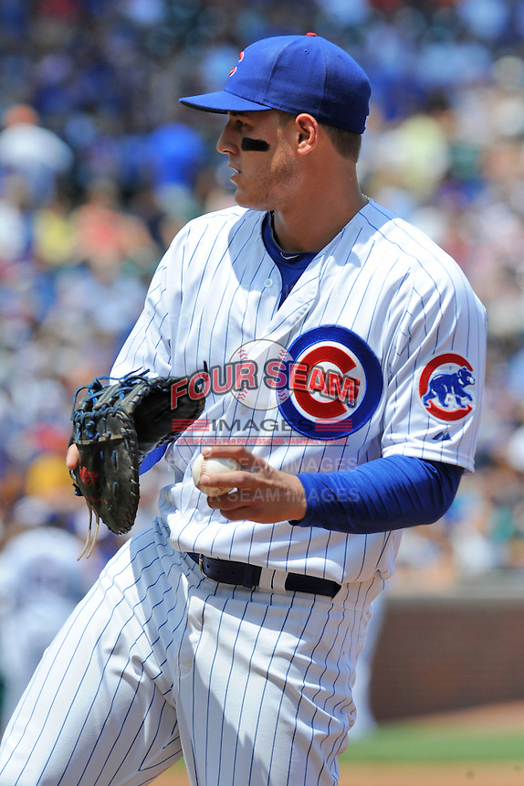 Chicago Cubs first baseman Anthony Rizzo #44 at first base during a game against the Arizona Diamondbacks at Wrigley Field on July 15, 2012 in Chicago, Illinois. The Cubs defeated the Diamondbacks 3-1. (Tony Farlow/Four Seam Images).
