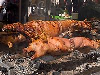 Grillen von Schweinen  beim Traubenfest, Vrsac, Vojvodina, Serbien, Europa<br /> Roasted pork at the wine-festival, Vrsac, Vojvodina, Serbia, Europe