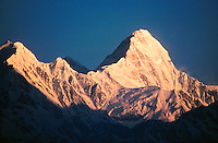 .Sunrise light on the peak Himalchuli in the Manaslu Himal, west-central Nepal...