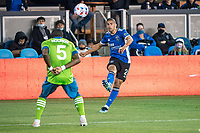 SAN JOSE, CA - MAY 12: Luciano Abecasis #2 of the San Jose Earthquakes passes the ball during a game between San Jose Earthquakes and Seattle Sounders FC at PayPal Park on May 12, 2021 in San Jose, California.