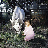 Interlitho, CHILDREN, photos, girl, white horse(KL15684,#K#) Kinder, niños