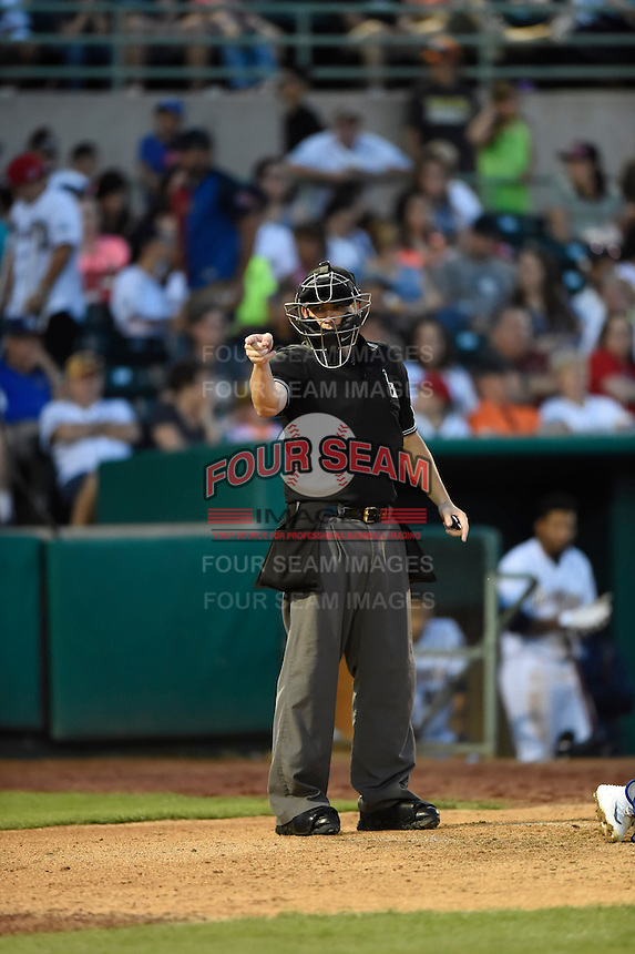 ***Temporary Unedited Reference File***Umpire Cody Oakes during a game between the San Antonio Missions and Midland RockHounds on April 22, 2016 at Nelson W. Wolff Municipal Stadium in San Antonio, Texas.  San Antonio defeated Midland 8-4.  (Mike Janes/Four Seam Images)