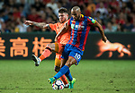 Liverpool FC defender Alberto Moreno (L) fights for the ball with Crystal Palace midfielder Andros Townsend (R) during the Premier League Asia Trophy match between Liverpool FC and Crystal Palace FC at Hong Kong Stadium on 19 July 2017, in Hong Kong, China. Photo by Weixiang Lim / Power Sport Images