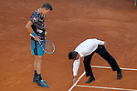 Tomas Berdych, Czech Republic, have words with nthe referee during Madrid Open Tennis 2015 match.May, 8, 2015.(ALTERPHOTOS/Acero)