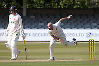 Chris Rushworth in bowling action for Durham during Essex CCC vs Durham CCC, LV Insurance County Championship Group 1 Cricket at The Cloudfm County Ground on 16th April 2021