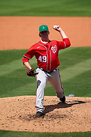 Washington Nationals pitcher Sam Clay (49) during a Major League Spring Training game against the New York Mets on March 18, 2021 at Clover Park in St. Lucie, Florida.  (Mike Janes/Four Seam Images)