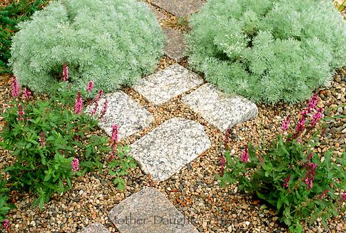 The first step: Lovely cut stone walkway through garden, built by Jonah Roberts