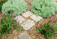 The first step: Lovely cut stone walkway through garden, built by Jonah Roberts