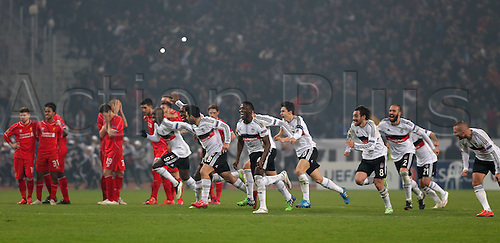 26.02.2015. Atatürk Olympic Stadium, Istanbul, Turkey.  UEFA Europa League Round of 32 second leg match between Besiktas JK and Liverpool FC on February 26, 2015 in Istanbul, Turkey. Score: Besiktas 1 - Liverpool 0 Penalty score: Besiktas 5 - Liverpool 4  Besiktas Players celebrate after the match.