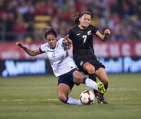 Sydney Leroux, Ali Riley. The USWNT tied New Zealand, 1-1, at an international friendly at Crew Stadium in Columbus, OH.