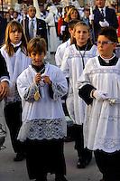 Prozession bei der  Semana Santa (Karwoche) in Malaga, Andalusien, Spanien