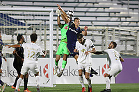 CARY, NC - AUGUST 01: Matt Vanoekel #1 and Sam Brotherton #5 challenge for a cross during a game between Birmingham Legion FC and North Carolina FC at Sahlen's Stadium at WakeMed Soccer Park on August 01, 2020 in Cary, North Carolina.