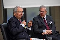 """BMZ-Konferenz """"Religion und die Agenda 2030 fuer nachhaltige Entwicklung"""".<br /> Vlnr: Prof. Dr. Klaus Toepfer, Bundesumweltminister a. D., ehem. Direktor des UN-Umweltschutzprogramms UNEP; Eric G. Postel, Associate Administrator, U.S. Agency for International Development (USAID), USA.<br /> 17.2.2016, Berlin<br /> Copyright: Christian-Ditsch.de<br /> [Inhaltsveraendernde Manipulation des Fotos nur nach ausdruecklicher Genehmigung des Fotografen. Vereinbarungen ueber Abtretung von Persoenlichkeitsrechten/Model Release der abgebildeten Person/Personen liegen nicht vor. NO MODEL RELEASE! Nur fuer Redaktionelle Zwecke. Don't publish without copyright Christian-Ditsch.de, Veroeffentlichung nur mit Fotografennennung, sowie gegen Honorar, MwSt. und Beleg. Konto: I N G - D i B a, IBAN DE58500105175400192269, BIC INGDDEFFXXX, Kontakt: post@christian-ditsch.de<br /> Bei der Bearbeitung der Dateiinformationen darf die Urheberkennzeichnung in den EXIF- und  IPTC-Daten nicht entfernt werden, diese sind in digitalen Medien nach §95c UrhG rechtlich geschuetzt. Der Urhebervermerk wird gemaess §13 UrhG verlangt.]"""