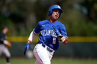 Indiana State Sycamores Diego Gines (11) running the bases during a game against the Chicago State Cougars on February 23, 2020 at North Charlotte Regional Park in Port Charlotte, Florida.  Chicago State defeated Indiana State 3-0.  (Mike Janes/Four Seam Images)