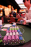 APPT chips sit ona table in preparation for the start of play on day 1.