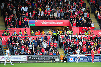 fans of Nottingham Forest infront of vistwales.com advertising during the Sky Bet Championship match between Swansea City and Nottingham Forest at the Liberty Stadium, in Swansea, Wales, UK. Saturday 15 September 2018