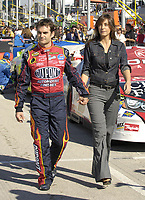 HOMESTEAD, FL - NOVEMBER 19, 2006 : NASCAR driver Jeff Gordon and new wife Ingrid Vandebosch at the NASCAR Nextel Cup Series Ford 400, at Homestead-Miami Superspeedway in Homestead, Florida<br /> <br /> <br /> People:  Jeff Gordon; Ingrid Vandebosch