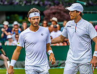 London, England, 6 July, 2019, Tennis,  Wimbledon, Men's doubles: Marcus Daniell (DEN)) and Wesley Koolhof (NED) (L)<br /> Photo: Henk Koster/tennisimages.com