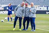 CHICAGO, IL - OCTOBER 5: Graeme Abel, Jill Ellis and Dawn Scott of the United States pose at Soldier Field on October 5, 2019 in Chicago, Illinois.