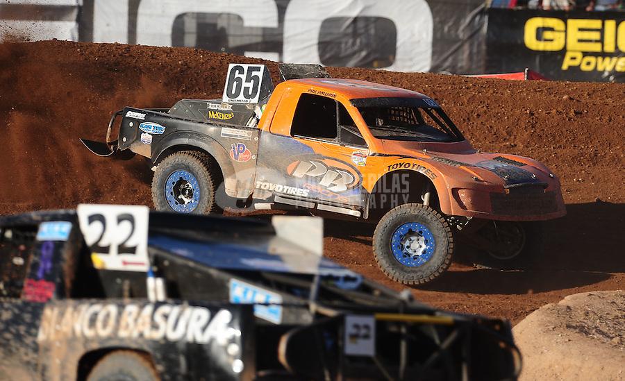 Apr 17, 2011; Surprise, AZ USA; LOORRS driver Phil Bollman (65) during round 4 at Speedworld Off Road Park. Mandatory Credit: Mark J. Rebilas-
