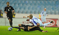 Conor Casey gets tangled up with Martin Skrtel (3). Slovakia defeated the US Men's National Team 1-0 at the Tehelne Pole in Bratislava, Slovakia on November 14th, 2009.