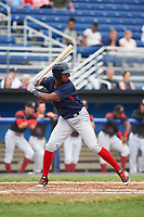Lowell Spinners left fielder Marino Campana (23) at bat during a game against the Batavia Muckdogs on July 12, 2017 at Dwyer Stadium in Batavia, New York.  Batavia defeated Lowell 7-2.  (Mike Janes/Four Seam Images)