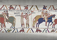 Bayeux Tapestry scene 21 : Duke William knights Harold for fighting against Duke of Britany.