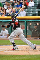 Carlos Triunfel (8) of the Albuquerque Isotopes during the game against the Salt Lake Bees at Smith's Ballpark on April 21, 2014 in Salt Lake City, Utah.  (Stephen Smith/Four Seam Images)