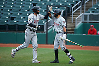 Wisconsin Timber Rattlers designated hitter Chad McClanahan (9) is congratulated by Gabriel Garcia (13) after hitting a home run during a Midwest League game against the Lansing Lugnuts at Cooley Law School Stadium on May 1, 2019 in Lansing, Michigan. Wisconsin defeated Lansing 8-3 after the game was suspended from the previous night. (Zachary Lucy/Four Seam Images)