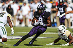 TCU Horned Frogs wide receiver John Diarse (9) in action during the game between the Baylor Bears and the TCU Horned Frogs at the Amon G. Carter Stadium in Fort Worth, Texas.