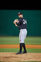 Chattanooga Lookouts relief pitcher Luke Bard (24) gets ready to deliver a pitch during a game against the Jackson Generals on April 27, 2017 at The Ballpark at Jackson in Jackson, Tennessee.  Chattanooga defeated Jackson 5-4.  (Mike Janes/Four Seam Images)