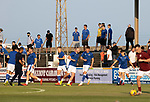 Arbroath v St Johnstone…21.07.21  Gayfield Park<br />Saints fans watch the players warm-up...The frist time since lockdown that travelling fans have been allowed in <br />Picture by Graeme Hart.<br />Copyright Perthshire Picture Agency<br />Tel: 01738 623350  Mobile: 07990 594431