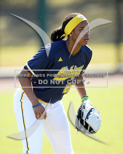Michigan Wolverines Softball outfielder Sierra Lawrence (22) during a game against the Bethune-Cookman on February 9, 2014 at the USF Softball Stadium in Tampa, Florida.  Michigan defeated Bethune-Cookman 12-1.  (Copyright Mike Janes Photography)