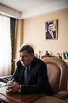 """Donetsk, Ukraine. 6 december 2013. Valentin I. Landik, Deputy of Party of Regions and President of holding """"Group NORD"""", photographed in his office."""
