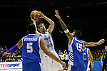 Argentina´s Nocioni (C) and Greece´s Bourousis and Printezis during FIBA Basketball World Cup Spain 2014 match between Argentina and Greece at Sevilla stadium in Sevilla, Spain. September 04, 2014. (ALTERPHOTOS/Victor Blanco)